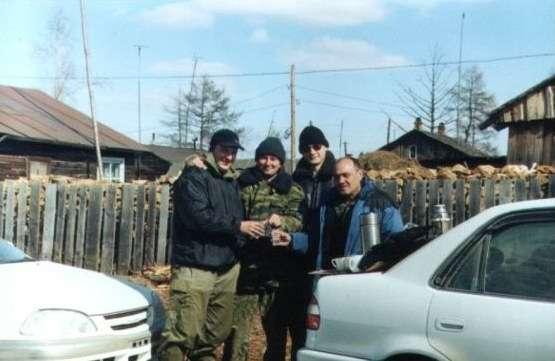 Обед в Тахтамыгде (Володя, Евгений, Я, Батя)